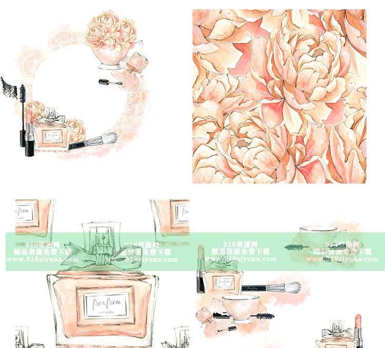 17款粉色化妆品手绘水彩铅笔画护肤品图案卡通甜美png免抠素材图片