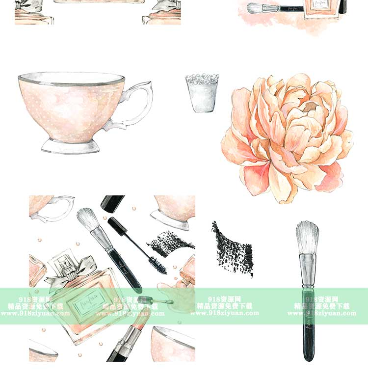17款粉色化妆品手绘水彩铅笔画护肤品图案卡通甜美png免抠素材图片 手绘素材 第2张