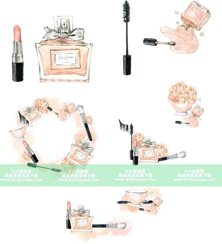 17款粉色化妆品手绘水彩铅笔画护肤品图案卡通甜美png免抠素材图片 手绘素材 第3张
