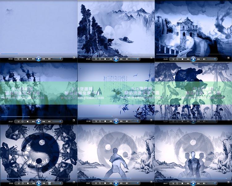 水墨中国古风武术太极八卦长城兵马俑万年松竹子特效背景视频素材