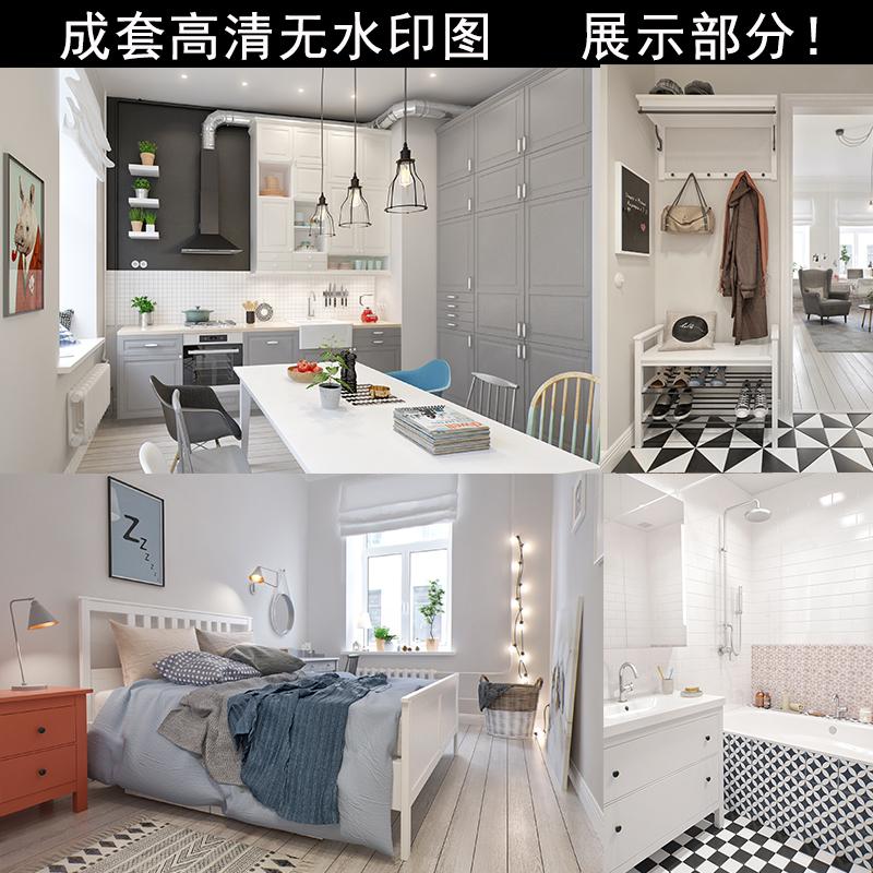 装修设计效果图纸家装实景三居室房屋室内二居室客厅全套全屋 装修效果图 第21张